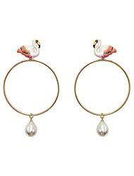 abordables -Femme Flamant Perle imitée Boucles d'oreille goutte - Mode / Européen Blanc / Orange Forme de Cercle / Flamant Des boucles d'oreilles Pour