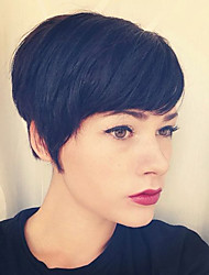 cheap -Human Hair Capless Wigs Human Hair Straight Pixie Cut Side Part Machine Made Wig