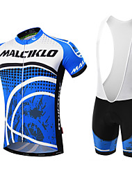 cheap -Malciklo Men's Short Sleeves Cycling Jersey with Bib Shorts - Black Blue/White British Geometic Bike Clothing Suits, 3D Pad, Quick Dry,