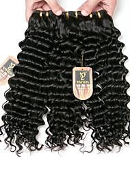baratos -3 pacotes Cabelo Brasileiro Onda Profunda Cabelo Virgem Cabelo Humano Ondulado Tramas de cabelo humano Feminino / extensão / Jovem Extensões de cabelo humano