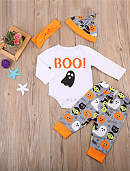 cheap -Baby Unisex Party Going out Print Clothing Set,Cotton Spring Fall Cute Casual Long Sleeve White