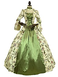cheap -Rococo / Victorian Costume Women's Dress Green Vintage Cosplay 100% Cotton 3/4-Length Sleeve Puff / Balloon Sleeve Floor Length / Long Length Halloween Costumes