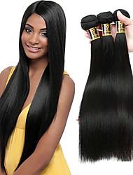 baratos -Cabelo Brasileiro Liso Cabelo Humano Ondulado Tramas de cabelo humano Preto Natural / Reto