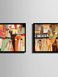 Недорогие -Абстракция Люди Иллюстрации Предметы искусства,Пластик материал с рамкой For Украшение дома Предметы искусства в рамках Гостиная В