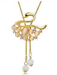 abordables -Femme Zircon Opale synthétique Or rose Zircon Opale Pendentif de collier - Or rose Zircon Opale Animaux Mode Cygne Colliers Tendance