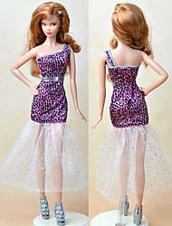 economico -Vestiti Un pezzo Per Bambola Barbie Viola Tessile Raso elasticizzato Abito Per Ragazza Bambola giocattolo