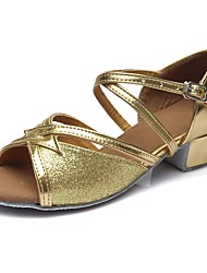 cheap -Latin Shoes Sparkling Glitter / Leatherette Sandal / Heel Training Buckle Chunky Heel Customizable Dance Shoes Gold