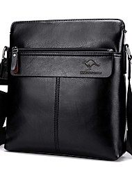 cheap -Men's Bags PU Shoulder Bag Zipper Black / Dark Brown / Khaki