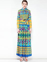 baratos -Mulheres Festa Fofo Boho balanço Longo Vestido, Básico Floral Estampa Colorida Colarinho de Camisa Manga Longa