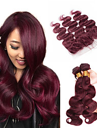 cheap -Brazilian Hair Body Wave Human Hair Weaves 4pcs Natural Color Hair Weaves Hair Weft with Closure