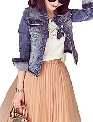 abordables -Veste en jean Femme,Couleur Pleine Quotidien Contemporain Printemps Manches longues Col de Chemise Court Autres