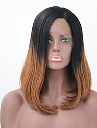 billiga -Syntetiska snörning framifrån Rak Bob-frisyr Syntetiskt hår Svart Peruk 13 cm Spetsfront Svart / Medium Rödbrun