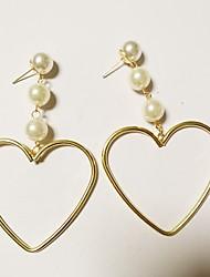cheap -Women's Heart Imitation Pearl Drop Earrings - Fashion / European Gold / White Earrings For Party