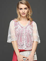 cheap -Women's Work Active Wrap - Solid Colored Lace Embroidered Jacquard V Neck