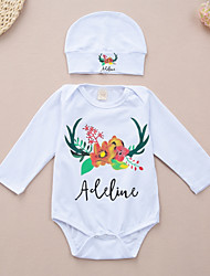 cheap -Baby Unisex Daily Sports Print One-Pieces,Cotton Spring Fall Simple Active Long Sleeve White