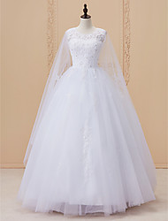 cheap -Ball Gown Scoop Neck Cathedral Train Satin Lace Over Tulle Custom Wedding Dresses with Sequin Lace by LAN TING BRIDE®
