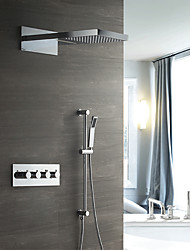 abordables -Contemporain mural cascade pluie douche douche inclus douchette en céramique thermostatique quatre poignées quatre trous chrome, douche