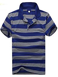 baratos -Homens Polo Moda de Rua Listrado Colarinho de Camisa / Manga Curta