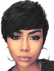 cheap -Human Hair Capless Wigs Human Hair Straight Pixie Cut With Bangs Side Part Machine Made Wig