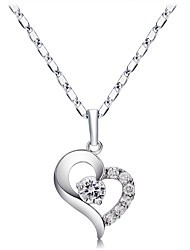cheap -Women's Heart Crystal Cubic Zirconia Silver Plated Pendant Necklace  -  Classic Sexy Silver Necklace For Gift Daily