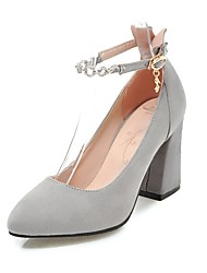 cheap -Women's Shoes Nubuck leather Spring / Fall Ankle Strap Heels Chunky Heel Pointed Toe Imitation Pearl / Buckle Black / Gray / Pink