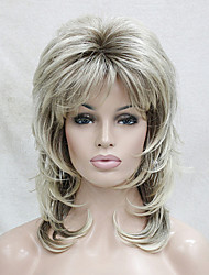 cheap -Synthetic Wig Wavy Layered Haircut With Bangs Blonde Women's Capless Natural Wigs Medium Synthetic Hair