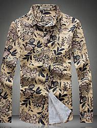 billige -Klassisk krave Herre - Blomstret Trykt mønster Skjorte