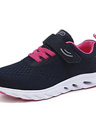 preiswerte -Damen Schuhe Tüll / Kunstleder Frühling / Herbst Komfort Sportschuhe Walking Flacher Absatz Schnalle Schwarz / Dunkelblau / Grau