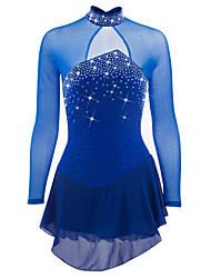 cheap -Figure Skating Dress Women's Girls' Ice Skating Dress Dark Blue Aquamarine Spandex Rhinestone Sequin High Elasticity Performance Skating