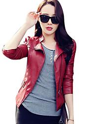 baratos -Feminino Jaquetas de Couro Para Noite Feriado Simples Moda de Rua Outono Inverno,Sólido Curto Poliuretano Colarinho Chinês
