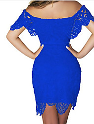 cheap -Women's Bodycon Dress - Patchwork, Lace Cut Out High Rise Boat Neck