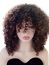 cheap -Synthetic Hair Wigs Curly Highlighted/Balayage Hair With Bangs Natural Wigs Medium Black/Medium Auburn