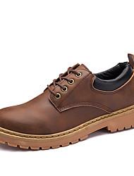 Homens sapatos Micofibra Sintética PU Primavera Outono Conforto Oxfords para Casual Preto Cinzento Marron