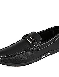 baratos -Homens sapatos Couro Ecológico Primavera / Outono Mocassim Mocassins e Slip-Ons Branco / Preto / Laranja