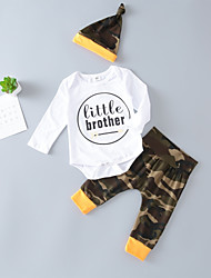 cheap -Baby Unisex Daily Sports Print Clothing Set,Cotton Spring Fall Casual Active Long Sleeve White