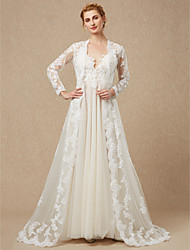 cheap -Long Sleeves Lace Tulle Wedding Party / Evening Women's Wrap With Appliques Lace Capes