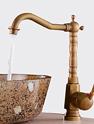 cheap -Antique Centerset Waterfall Ceramic Valve One Hole Single Handle One Hole Antique Copper, Bathroom Sink Faucet