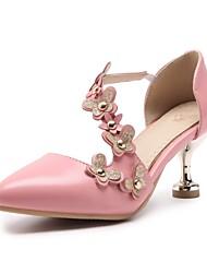 Недорогие -Жен. Обувь Дерматин Весна / Лето Удобная обувь Обувь на каблуках Каблуки на заказ Заостренный носок Заклепки Белый / Розовый / Миндальный