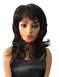 abordables -Perruque Synthétique Bouclé Marron Femme Sans bonnet Perruque de célébrité Perruque Naturelle Moyen Cheveux Synthétiques