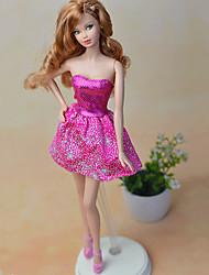 economico -Vestiti Un pezzo Per Bambola Barbie Fucsia Tessile Raso elasticizzato Abito Per Ragazza Bambola giocattolo
