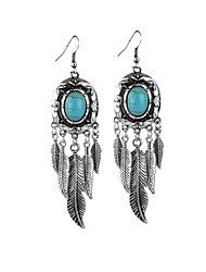 cheap -Women's Turquoise Tassel Drop Earrings - Turquoise Leaf Tassel, Ethnic Silver For Going out / Club