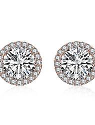 baratos -Mulheres Adorável Cristal Brincos Curtos / Com caixa de presente - Fashion Prata / Ouro Rose Formato Circular Brincos Para Casamento /