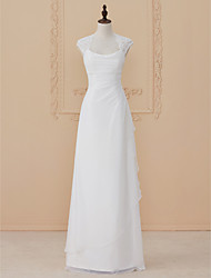 cheap -Sheath / Column Square Neck Floor Length Chiffon Lace Wedding Dress with Lace Side-Draped by LAN TING BRIDE®