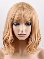 Недорогие -Парики из искусственных волос Естественные волны Стиль Без шапочки-основы Парик Блондинка Коричнево-золотой Искусственные волосы Жен. Блондинка Парик Короткие