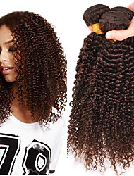 cheap -Brazilian Hair Classic / Kinky Curly Natural Color Hair Weaves 3 Bundles Human Hair Weaves Human Hair Extensions