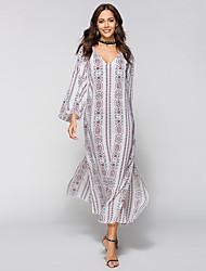 Недорогие -Жен. Пляж Богемный Вспышка рукава Свободный силуэт Платье - Цветочный принт, С разрезами V-образный вырез