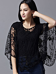 cheap -Women's Work Batwing Sleeve Polyester Wrap - Solid, Lace Embroidered Jacquard