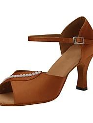 preiswerte -Damen Schuhe für den lateinamerikanischen Tanz Beflockung Sandalen / Absätze Professionell Crystal / Strass Maßgefertigter Absatz