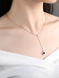 cheap -Women's Cubic Zirconia Pendant Necklace - Rose Gold Drop Simple, Elegant Rose Gold Necklace Jewelry One-piece Suit For Wedding, Evening Party