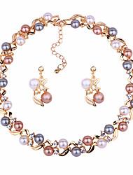 preiswerte -Damen Schmuckset Imitierte Perlen Künstliche Perle Kreisform Geschenk Party Valentinstag 1 Halskette Ohrringe Modeschmuck